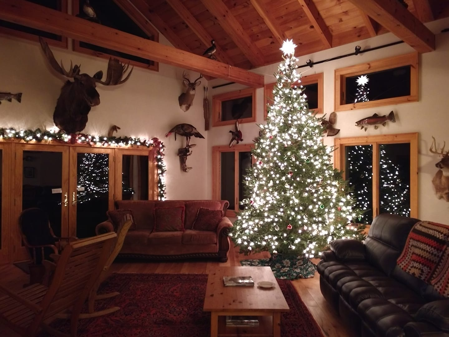 Christmas tree with white lights at night in large living room with wood panel vaulted ceiling